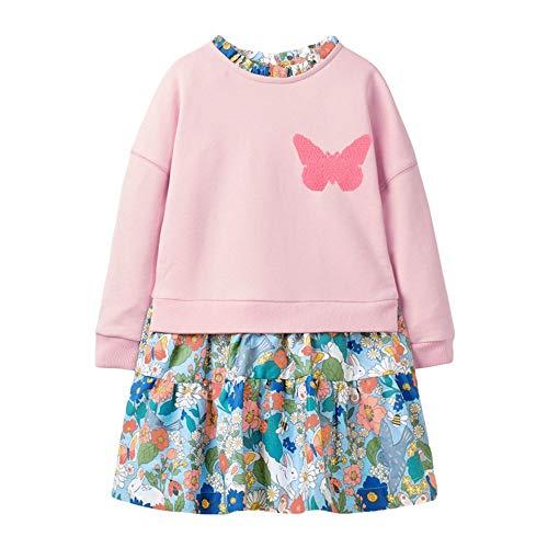 BeedooDoobee 2-7 años niñas vestido algodón manga larga ropa casual para primavera otoño, Color 33, 3 años