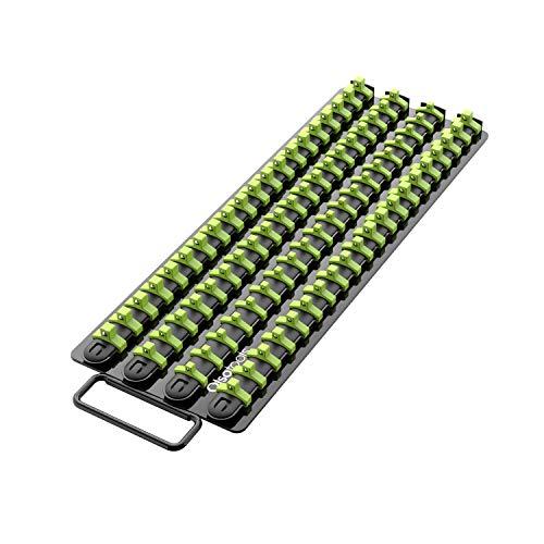 Olsa Tools Portable Socket Organizer Tray | Black Rails with Green Clips | Holds 80 Sockets | Professional Quality Socket Holder