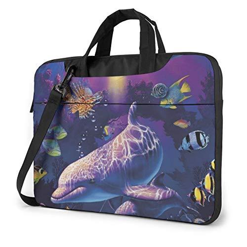Laptop Shoulder Bag - Cute Dolphin Printed Shockproof Waterproof Laptop Shoulder Backpack Bag Briefcase 14 Inch