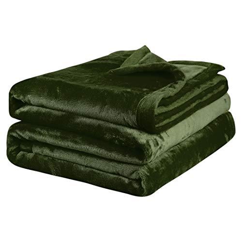 PiccoCasa Kuscheldecke Tagesdecke Fleecedecke mit Rand Microfaser Decke Weiche Warme Leichte Decke 330GSM für Bett Sofa usw. Grün 230x275cm