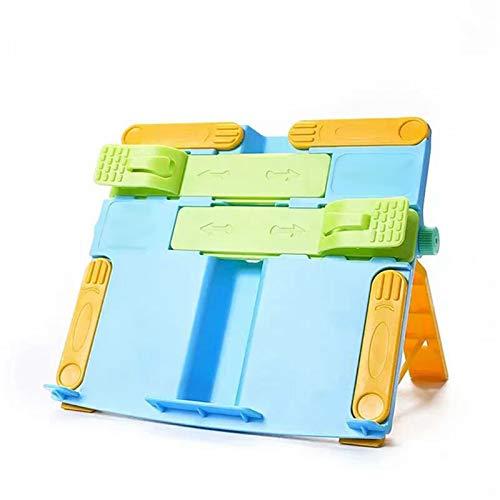 Soporte de lectura para niños,Soporte de Libros para Lectura Multifuncional,Escuela de soporte de lectura portátil ajustable,Soporte de lectura infantil con 2 clips(29.5 * 22cm,azul)