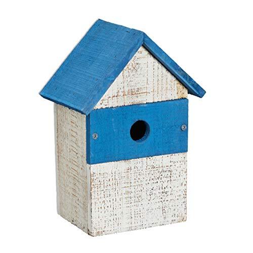 Relaxdays Casetta per Uccelli Decorativa, Decorazione Home per Il Giardino dall'Aspetto Shabby Chic, Vintage, Bianco/Blu, 1 pz