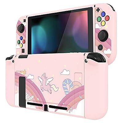 PlayVital Protector para Nintendo Switch Carcasa con Tapas de Botón Estuche Delgado de TPU Suave Funda para Nintendo Switch JoyCon&Consola Incluye Colorido ABXY Dirección Botón Caps(Rainbow Unicornio)