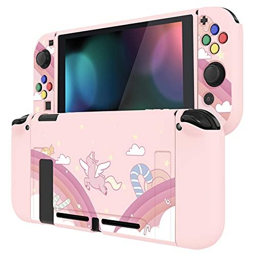 PlayVital Schutzhülle für Nintendo Switch Konsole Joycon,weiche TPU Slim Hülle Hülle Handgriff Tasche Zubehör für NS Joycon Konsole mit bunten ABXY/Richtung-Knöpfe Kappen(Regenbogen und Einhorn)