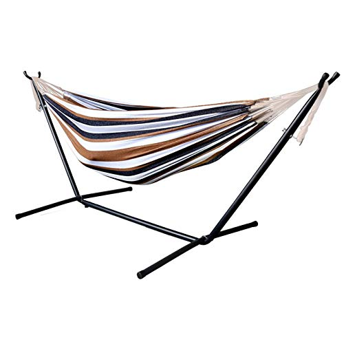 Fabric Hammock with Stand Double Portable Hammock Camping Hammock Backpacking Travel Hiking Patio Backyard Indoor Outdoor Garden Beach Hammock Adult Kids Toy