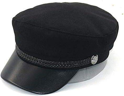 Nieuwe gebogen marinehoed met lederen rand katoenen mode baret hoeden heren dames alle bijpassende baretten streetstyle pet