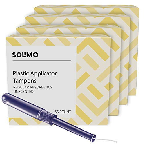 Amazon Brand  Solimo Plastic Applicator Tampons Regular Absorbency Unscented 144 Count 4 Packs of 36