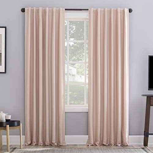 "Sun Zero Evelina Faux Dupioni Silk Thermal Extreme 100% Blackout Back Tab Curtain Panel, 50"" x 84"", Blush Pink"