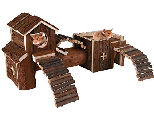 Livivo® Struttura gioco, in legno naturale, con tunnel, per criceti, gerbillini, roditori, piccoli animali domestici