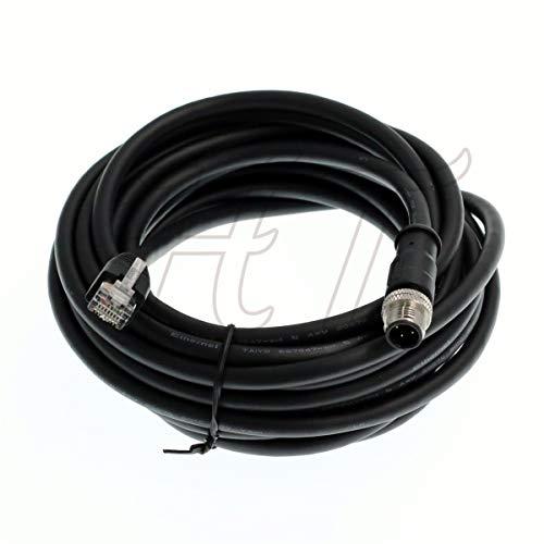 Abgeschirmtes wasserdichtes M12 4-poliger D-Code RJ45 Cat.6 Ethernet-Kabel Industriemaschinen Kamera Netzwerk Roboter, 1m, 1