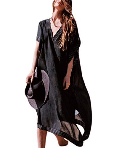 Bsubseach Mujer Vestido de Manga Larga de Playa Negro Kaftan con Cuello en V Ropa de Playa Casual Cubrir…