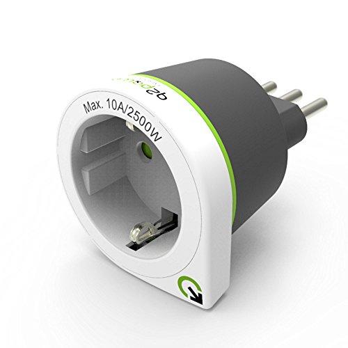 Q2 Power Europe to Italy Adattatore Universale da Viaggio con Presa a Terra, Protezione Anti Scossa Kid Safe, Voltaggio e Potenza Max. 100V-1000W / 250V-2500W