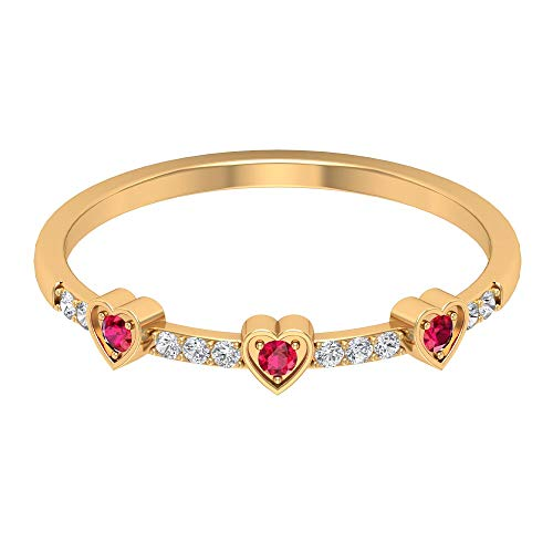 Anillo de media eternidad con corazón, cristal de rubí, anillo de dama de honor, anillo de novia apilable, anillo de promesa de amor, regalo de aniversario para niñas, 14K Oro amarillo, Size:EU 70