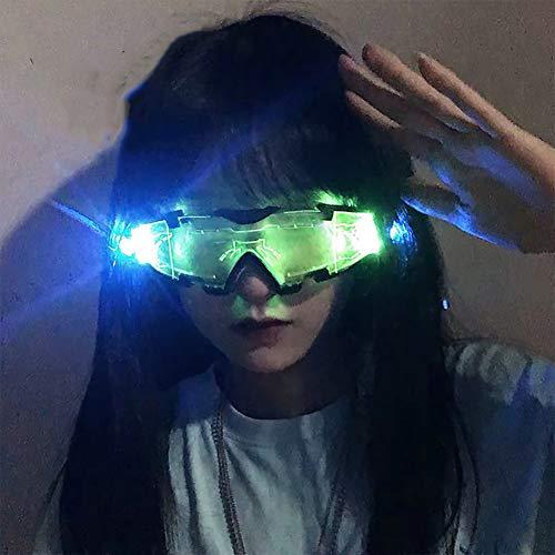 THDFV 2 PCS neón Lentes Cyberpunk LED del Visera, Luminoso futurista electrónico Visera Gafas, Apoyo para la Fiesta de cumpleaños de Halloween Festival de Navidad