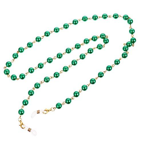 ABOOFAN Perlas de perlas verdes gafas cadena cadena titular gafas de sol collar cadena Cords cubierta cara cordón Retenedor de gafas