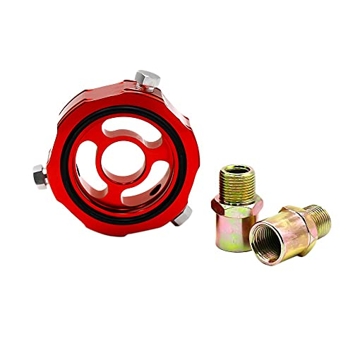 Deesen Coche M20X1.5 3/4-M16 Add Adaptador de Bloque de Aceite Sensor de PresióN de Temperatura de Aceite LíNea Turbo Enfriador de Filtro de Aceite YC100335 Rojo