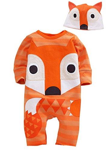 Bigood Imprimé Animaux Pyjama Souple Grenouillère Cartoon Combinaison Chapeau Doux Renard size80