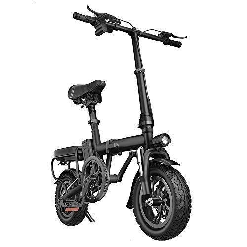 NXXML Bicicleta eléctrica portátil Plegable Inteligente de Aluminio Pro, Mini batería pequeña de 12 Pulgadas, con batería extraíble de Iones de Litio de 48V,Negro,Mediumversion