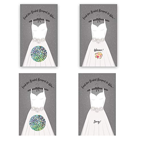 Bridal Shower Engagement Party Scratch Off Game Wedding Dress Gray White 2 x 3.5 Inch Cards 25 Pack My Scratch Offs
