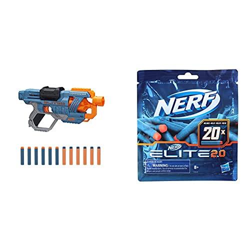 Hasbro E9485EU4 Nerf Elite 2 Commander RD-6 Blaster, 12 Nerf Darts, 6-Dart Rotationstrommel, Tactical Rail Steckschienen, Befestigungspunkte & Nerf Elite 2.0 20er Dart Nachfüllpackung