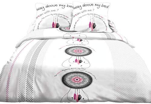 Le linge de Jules Parure Drap Plat + Drap-Housse 140x190 + 2 T - Pur Coton 57 Fils - Dream Rose