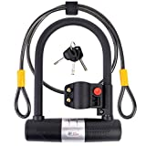 Bike U Lock with Cable - 16mm Heavy Duty Bike Lock with Key - A Must Have Anti Theft Bike Accessory for High Security - Flexible 4ft Braided Steel Cable - Reliable All Weatherproof Bicycle U Lock