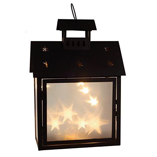 Cepewa LED Laterne Haus Metall schwarz mit 3D Hologramm Effekt - Scheiben in Zwei Größen Batteriebetrieb (groß)