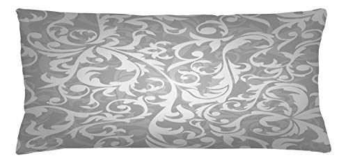 ABAKUHAUS Grey Throw Pillow Cushion Cover, Victorian Style Large Leaf Floral Pattern Swirl Classic Abstract French Vintage Print, Decorative Square Accent Pillow Case, 36 X 16 Inches, Grey
