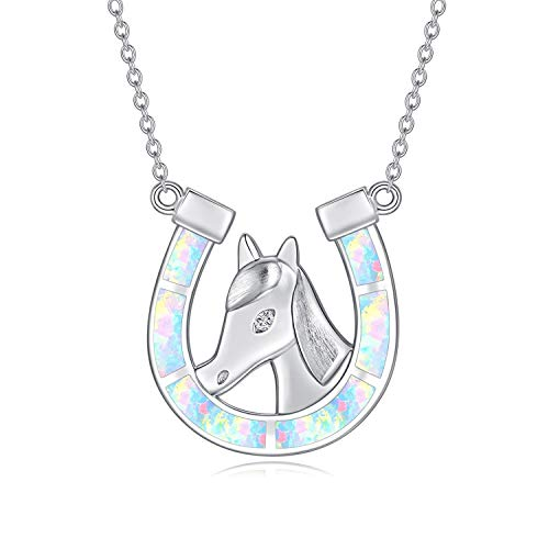 Collar con colgante de herradura de cabeza de caballo, colgante de ópalo arcoíris de joyería de plata de ley 925, regalo de caballo para mujeres y niñas