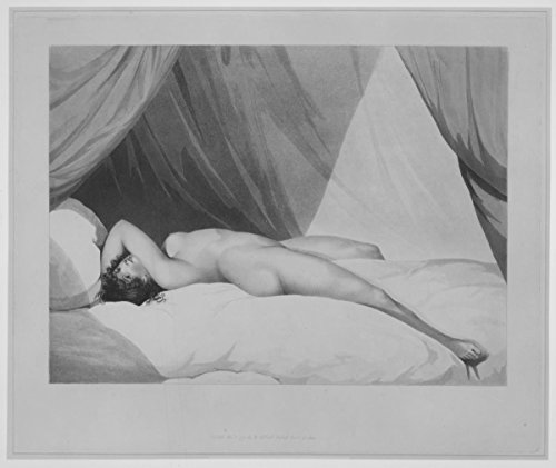 Historic Pictoric Art Print : Adam Buck - Nude Reclining on Curtained Bed Emma Hamilton (?) : Vintage Wall Décor : 10in x 08in
