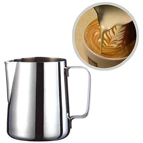 VNEIRW Milchbecher, Edelstahl Milchschaum Krug Kännchen, Milch Aufschäumen für Cappuccino und Latté, Zieh Blumen Tasse, Kaffeemaschine, 100/350/600, Silber (M: 350ML)