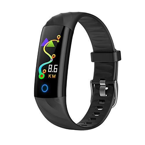 YNLRY Reloj inteligente pulsera de ritmo cardíaco con monitor de presión arterial IP68, resistente al agua, podómetro, banda inteligente para iOS (color: negro)