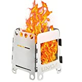 Lixada Camping Stove Portable Stainless Steel Folding Backpacking Stove Wood Burning Stoves for Outdoor Cooking Picnic BBQ Camp Hiking