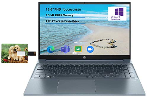 "HP Pavilion 15.6"" FHD Touchscreen Laptop, Intel i7-1165G7 16GB RAM 1TB SSD Intel Iris Xe Graphics Backlit Keyboad Fog Blue Online Class Webcam Windows 10 Pro | 32GB Tela USB Card"