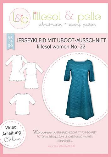 lillesol & pelle Schnittmuster lillesol Women No.22 Jerseykleid mit Uboot-Ausschnitt in Größe 34-50 zum Nähen mit Foto-Anleitung und Video
