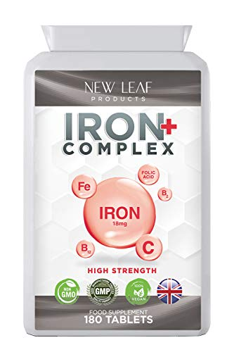 Iron Tablets 18mg Highest Absorbency - Very Gentle On Stomach Helps Tiredness and Fatigue with Vitamins A, C, B2, B12, and Folate - Vegan Iron Supplements, Non-GMO, GMP ,UK-Made,180 Tablets