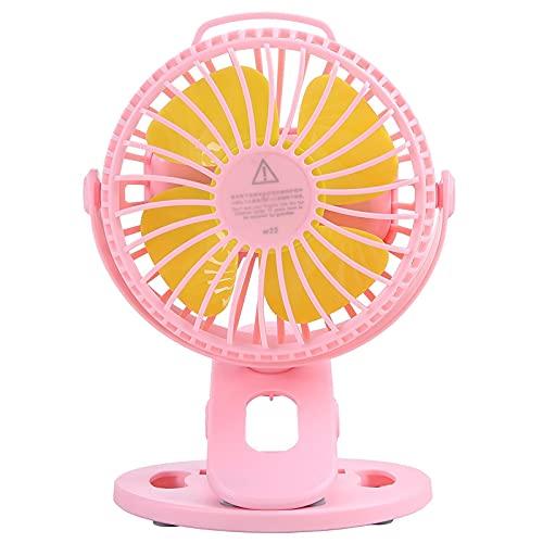 BULO Ventilador de Clip, Ventilador de Escritorio pequeño portátil de rotación de 360 °, Ventilador de Mesa Recargable Personal de 3 velocidades con Clip, para Cochecito, Camping, Oficina Pink