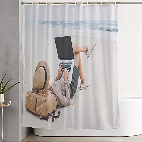 Starolac Bathroom Fabric Shower Curtain Looking Autumn Young Woman Using Laptop Computer On Trip People Parks Adult Beach Model Pc Outdoor Washable Bathroom Shower Curtains with 12 Hooks 72 x 78 Inch