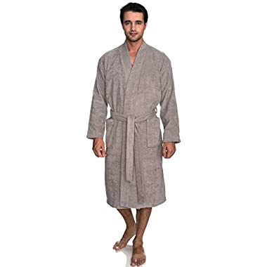 TowelSelections Men's Robe, Turkish Cotton Terry Kimono Bathrobe Small/Medium Paloma Gray