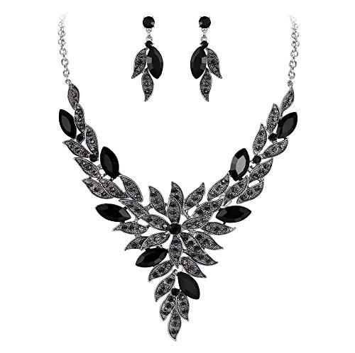 Clearine Juegos de Joyas de Mujer Cristal Lágrimas Forma Hoja Encaje Collar y Pendientes para Novia Boda Fiesta Negro