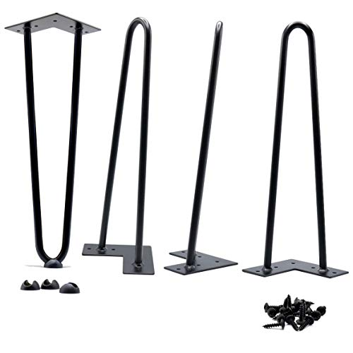 HOMELAND HARDWARE 16' Hairpin Legs 9.70 lbs (Ours) v 5.25 lbs (Others) Heavy Duty and Double Weld 1/2 v 3/8 inch Diameter Heavy Duty Free Rubber Feet and Screws Included DIY Coffee Desk Bench Legs