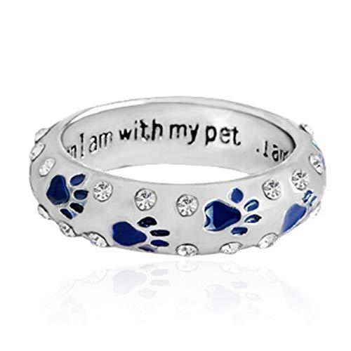 BQZB Ring Anillo de Diamantes de imitación con Garra para Perro de Mascota Cuando Estoy con mi Animal de compañía Anillo para Perro Pata de Perro Huellas Joyas para Anillos ¡3 Colores!