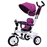 YLZT Nuevo Cochecito de Bicicleta para niños Triciclo 2-5 años de Edad Modos de conversión guía integrada,Púrpura
