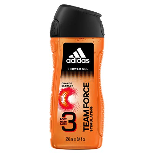 Adidas, Team Force Gel Doccia Bagnoschiuma 3 in 1 per Corpo, Capelli e Viso, 250 ml