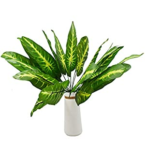 2 Pack 14 Branches Artificial Palm Banana Plants Leaves Faux Turtle Leaf Greenery Fake Tropical Monstera Large Palm Tree Leaves Imitation Leaf for Home Kitchen Party Wedding Decorations
