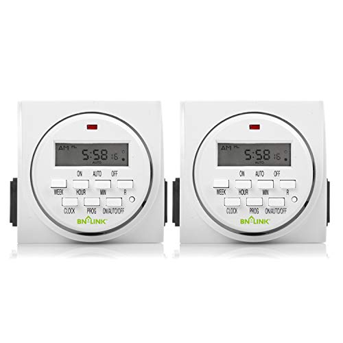 BN-LINK 7 Day Heavy Duty Digital Programmable Timer, FD60 U6, 115V, 60Hz, Dual Outlet, Indoor, Packaging May Vary, Dual Outlet, for Lamp Light Fan Security UL Listed(2 Pack)