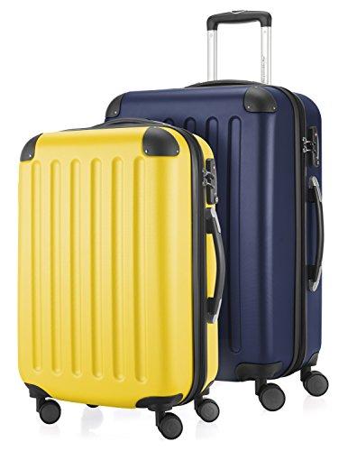 HAUPTSTADTKOFFER - Spree - Set di 2 Valigie Trolley rigido con estensione, ABS, TSA, 4 ruote, 55/65 cm, Giallo-blu scuro
