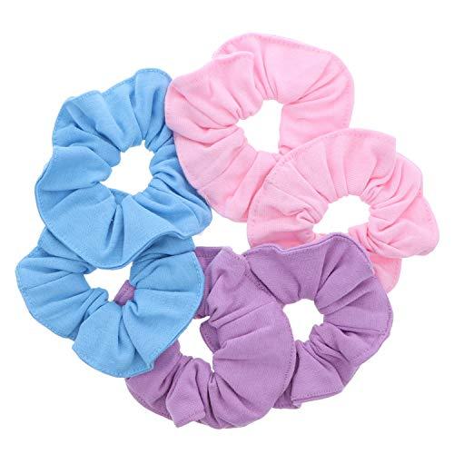 Large Solid Scrunchie - Set of 6-Light Pink Lavender Light Blue