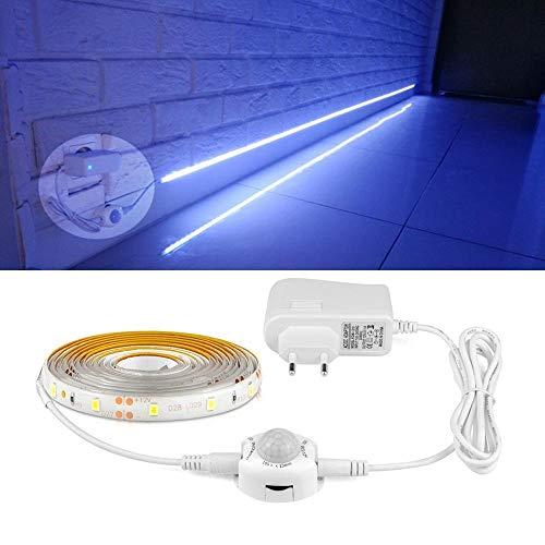BZAHW Sensor de movimiento PIR 12V LED luz nocturna 1M 2M 3M 4M 5M Sensor PIR Barra de luz LED armario armario pasillo luz LED 110V 220V BZAHW (Color : White)