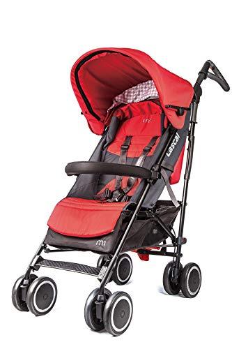 Lascal M1 Buggy Silla de paseo ergonómica y ajustable, cómodo carrito infantil para niños hasta 6 años (22 kg), con capota extensible, compatible con BuggyBoard, rojo